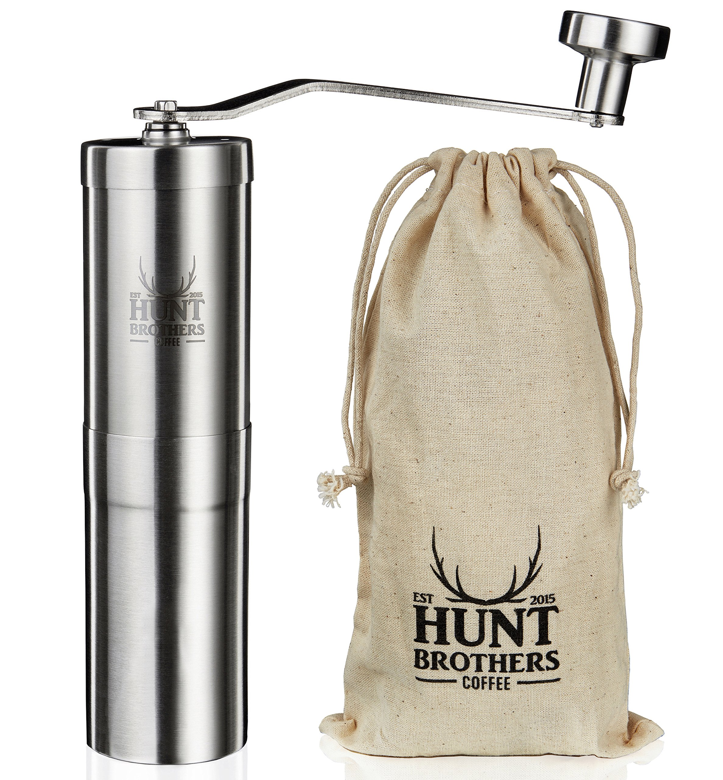 Hunt Brothers Coffee Grinder   Best Conical Burr for Precision Brewing   Upgraded Burr Piece   Top Rated Manual Coffee Mill   Aeropress Compatible, Perfect for Traveling