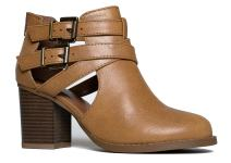 J. Adams Cut Out Buckle Ankle Bootie - Low Stacked Wood Heel Western Round Boot - Vegan Leather Sammi
