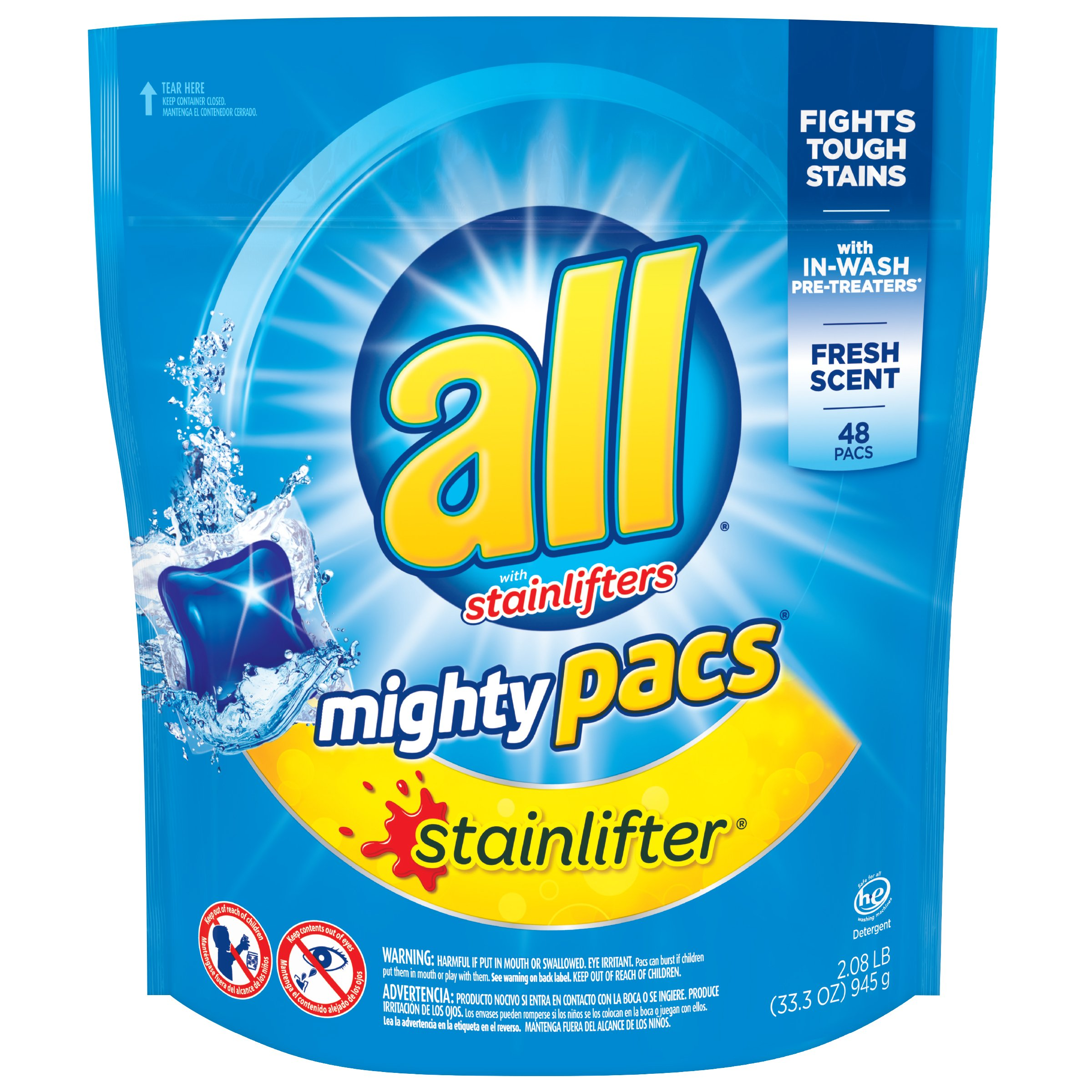 all Mighty Pacs Laundry Detergent, Stainlifter, Pouch, 48 Count