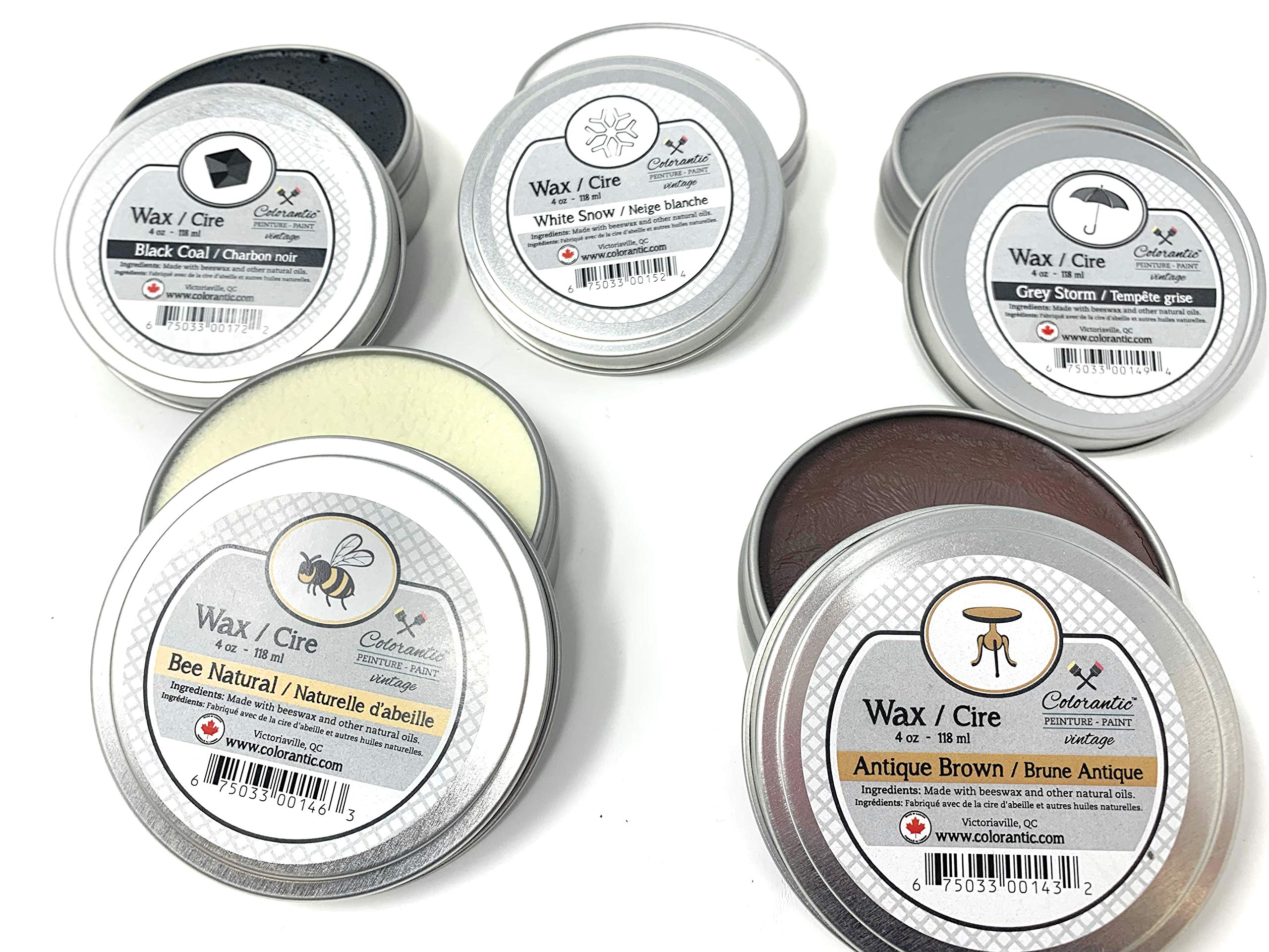 Colorantic | Clear Natural and Tinted Wax Beeswax Waxes for Chalk Based Paint Furniture | Home Decor Craft Art DIY (Bundle of 8 oz, 5 Colors)