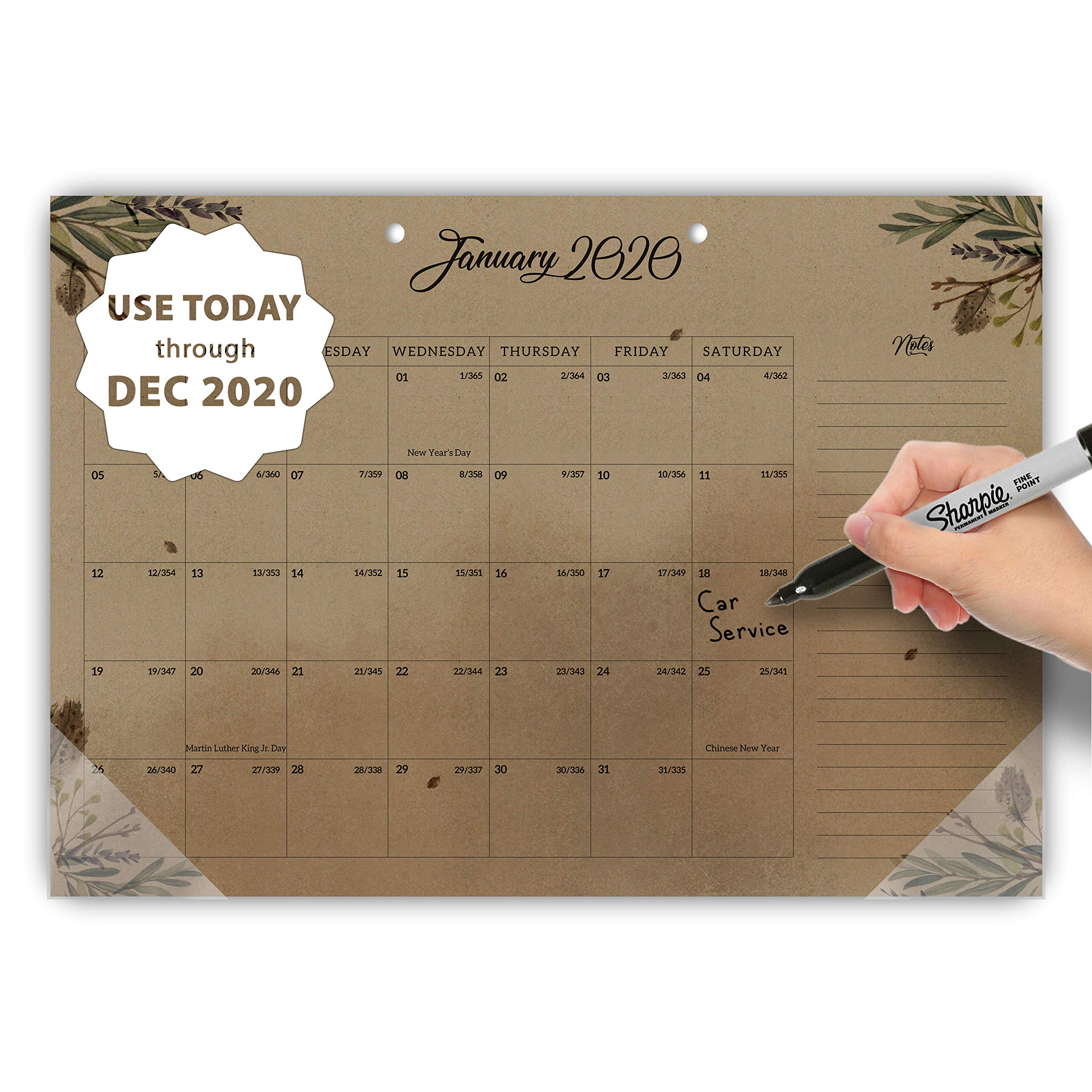 MUDRIT 2020 Desk/Wall Yearly Calendar, Large Kraft Pages 11 X 17 Monthly Daily Planner (Aug 2019 - Dec 2020), Big Blotter Desktop/Hanging Pad - Office, Home, Family,Business, School Academic Planning