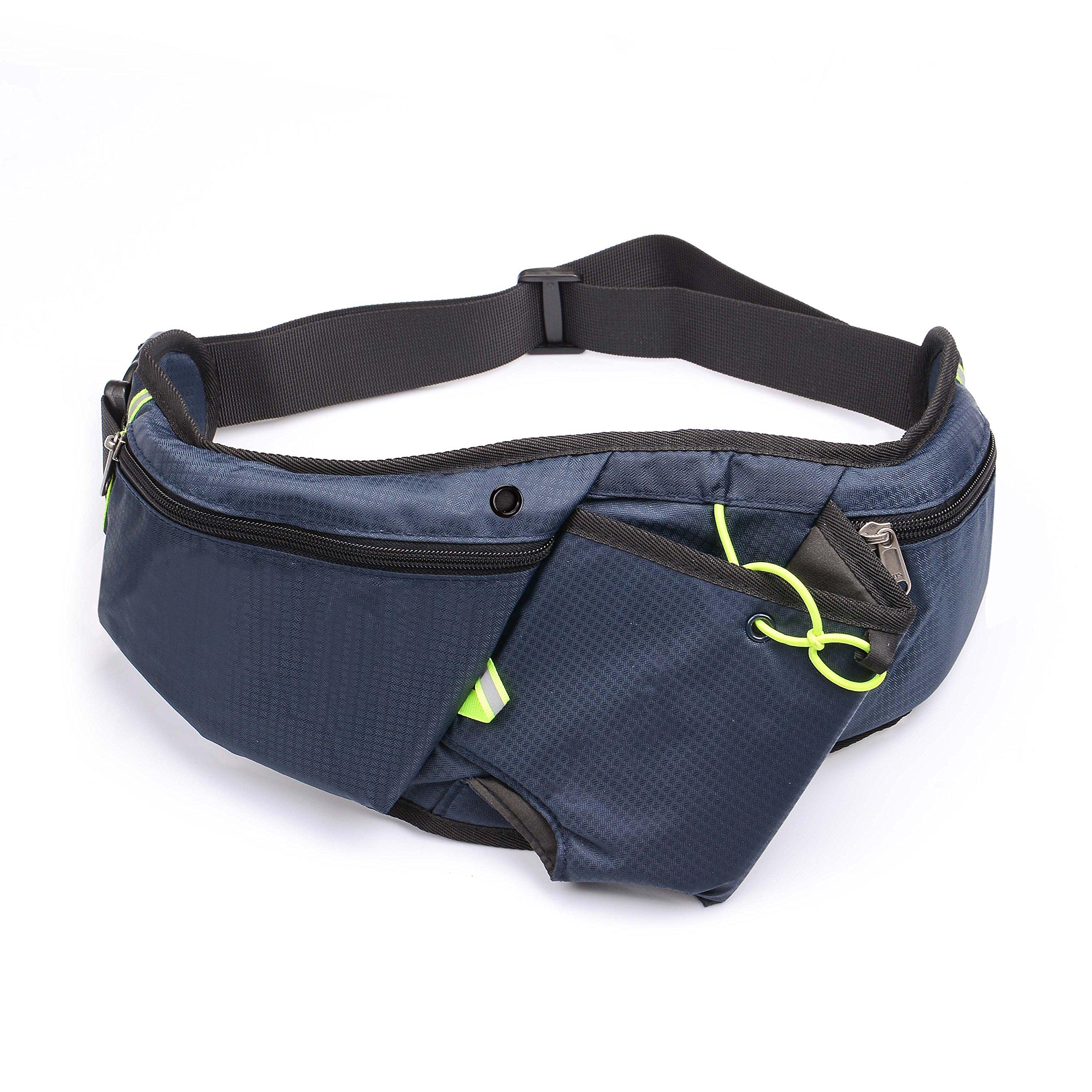 U-TIMES Fanny Bag for Women & Men Running Belt Pouch Gym Waist Pack - with Water Bottle Holder/Headphone Jack Hole/Fluorescent Tape
