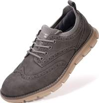 JOOMRA Men's Knit/Leather Wingtip Oxford Dress Shoes