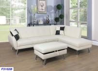 Beverly Fine Furniture Sectional Sofa Chaise Set, White