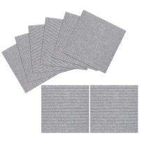 TRILUC, 12 x 12 Place and Stick Carpet Tile Squares. Non Slip Backing & Washable Floor Tile - 8 Pc Set - Light Gray