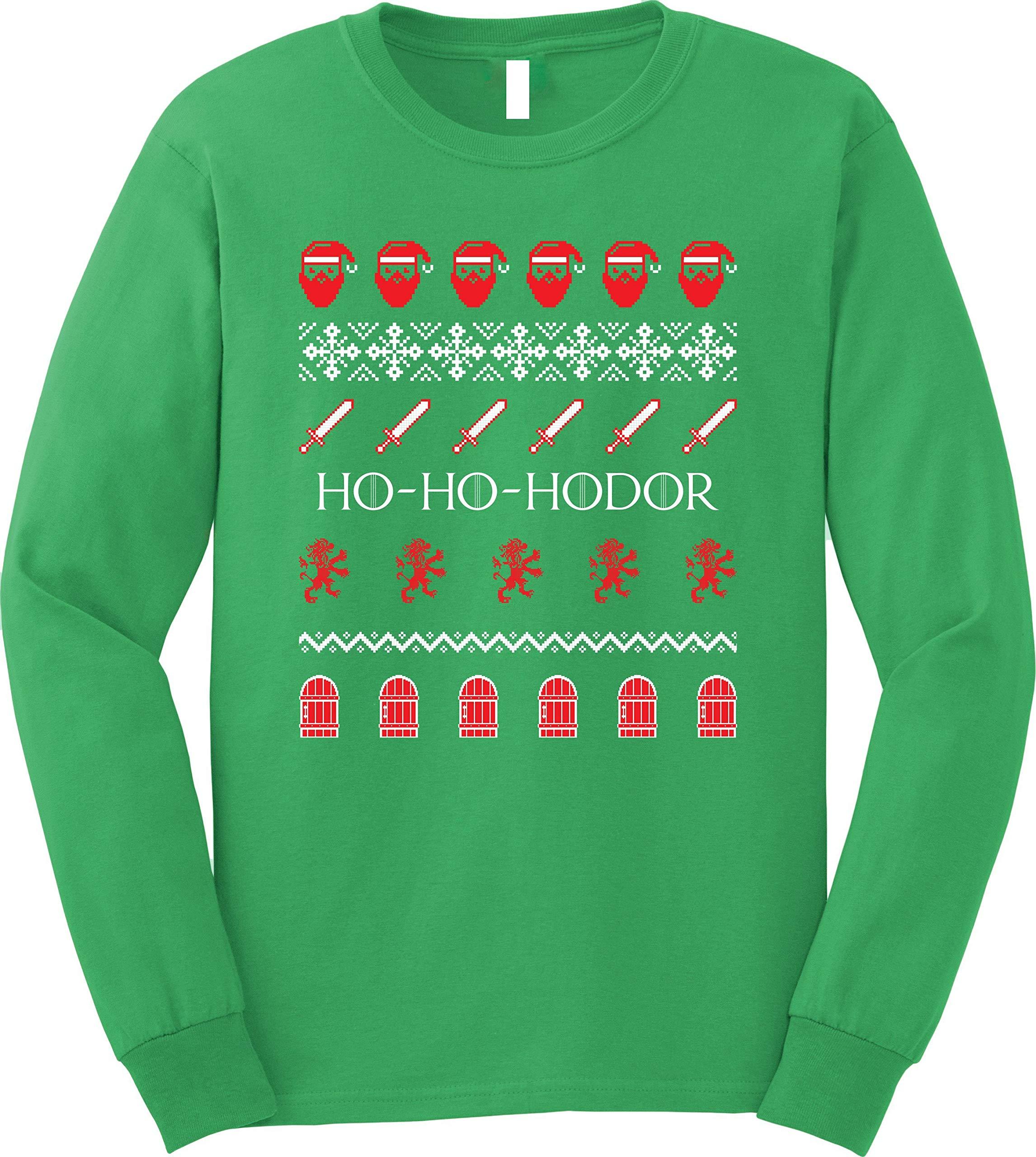 GunShowTees Ho Ho Hodor Ugly Christmas GoT Long Sleeve T-Shirt