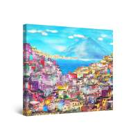 Startonight Canvas Wall Art Abstract Painting - Houses on The Hill 32 x 32 inches