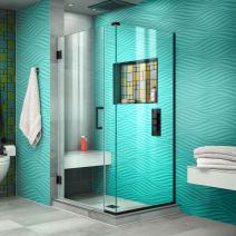 """DreamLine SHEN-24320300-09 Unidoor Plus Shower Enclosure, 32"""" W x 30.375"""" D, Satin Black"""