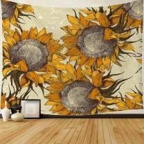 """Flower Tapestry Vintage Style Sunflowers Tapestry Wall Hanging Behemia Wall Fabric Wall and Home Decor, 81"""" W x 61"""" L"""