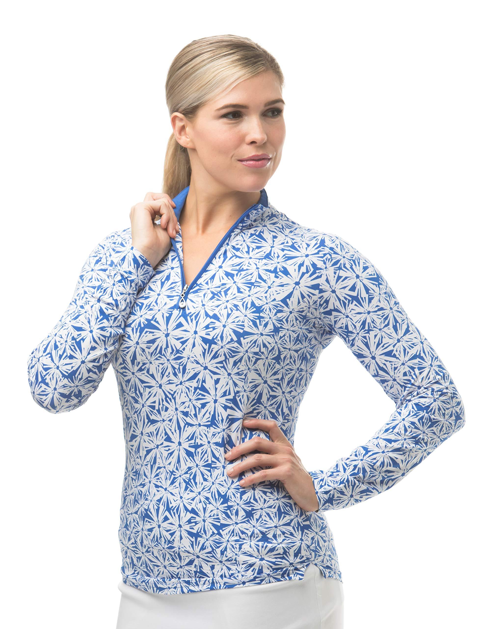 SanSoleil Women's SolTek Ice UV 50 Mock Neck Top -Medium - Janes Garden Blue