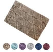 "Woven St Luxury Tufted Cotton Waffle Bath Rug for Spa Vanity Shower Super Soft Machine Washable Floor mat for Bathroom/Kitchen Water Absorbent Anti-Skid Bedroom Area Rugs (21"" x 34"", Taupe)"