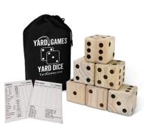 """Giant 3.5"""" Wooden Yard Dice with Laminated Yardzee and Farkle Scoresheets and Durable Carrying Case"""
