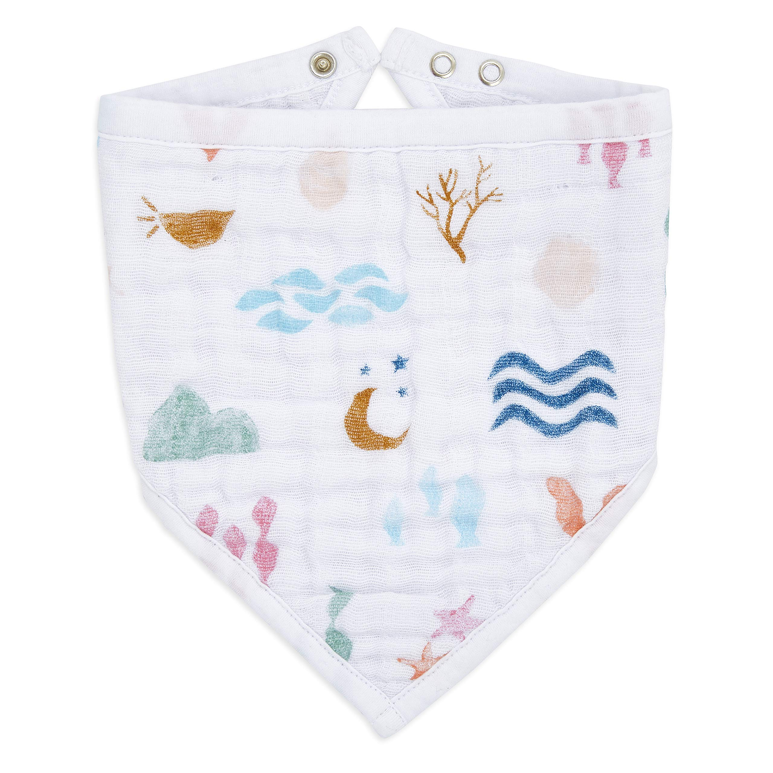aden + anais Bandana Baby Bib   100% Cotton Muslin   3 Layer Burp Cloth   Super Soft & Absorbent for Infants, Newborns and Toddlers, Adjustable with Snaps, Mermaid