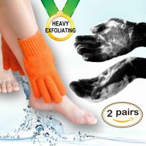 Home Spa HEAVY Exfoliating gloves Hydro full body wash to cleanse scrub gloves - Shower & Bath - Deep clean dead skin and Improves blood circultion (2 pairs Plain, Orange+Black) …