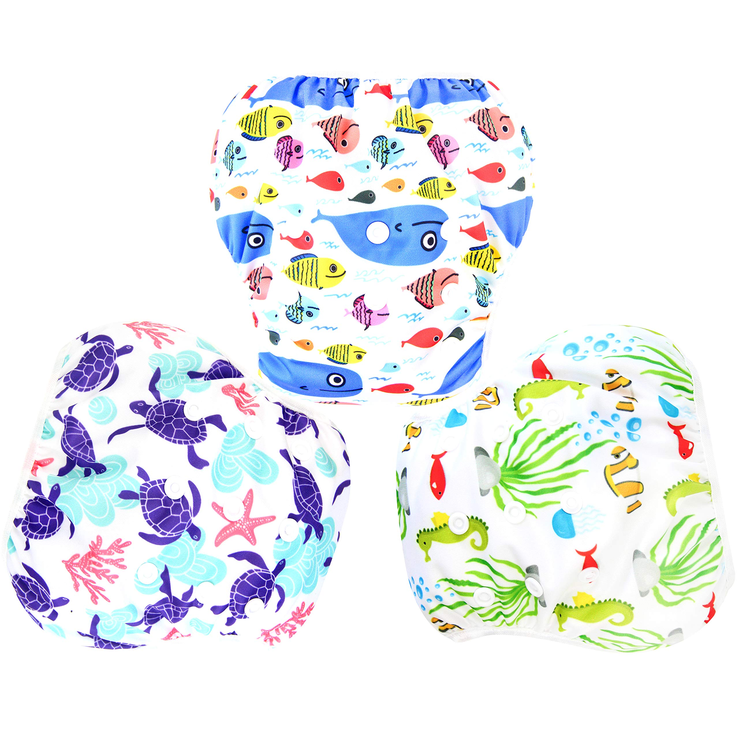 Langsprit 3 Pack Swim Diaper for Baby & Toddle,Reuseable Washable Diaper Swim for Swimming Lesson & Baby Shower Gifts ( S, Underwater World)