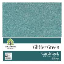 "Glitter Green Cardstock - 12 x 12 inch - .016"" Thick - 10 Sheets"