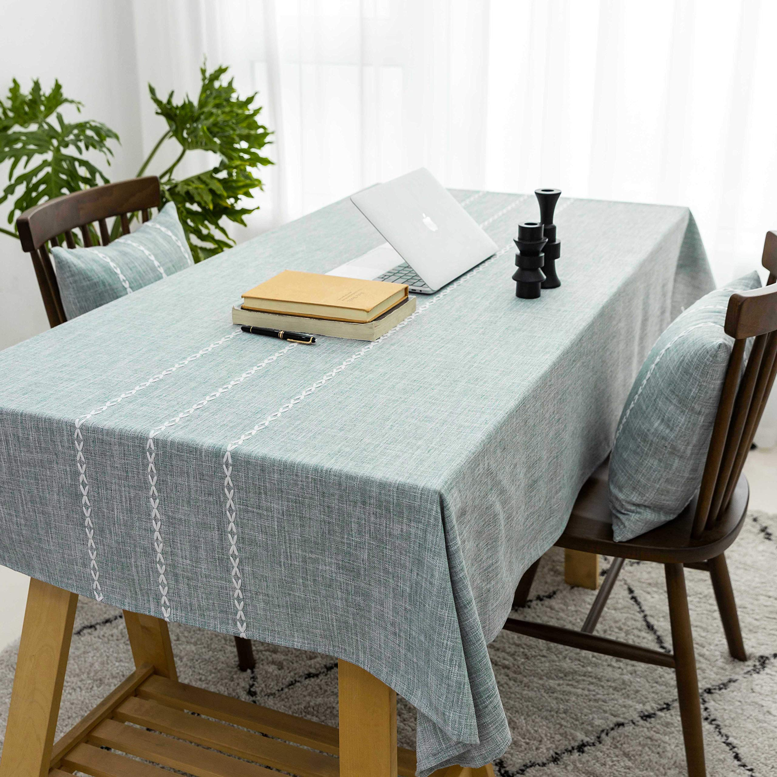 Indoor and Outdoor Dining Picnic Dark Blue Washable Table Cover with Dust-Proof Wrinkle Resistant for Restaurant 52 x 70 Inch Pastoral Rectangle Tablecloth Floral Linen Fabric Table Cloth