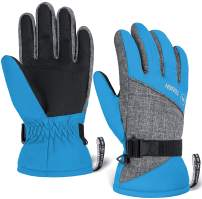 Kids Winter Gloves - Snow & Ski Waterproof Youth Gloves for Boys & Girls - Designed for Cold Weather Outdoor Play, Skiing & Snowboarding - Windproof Thermal Shell & Synthetic Leather Palm