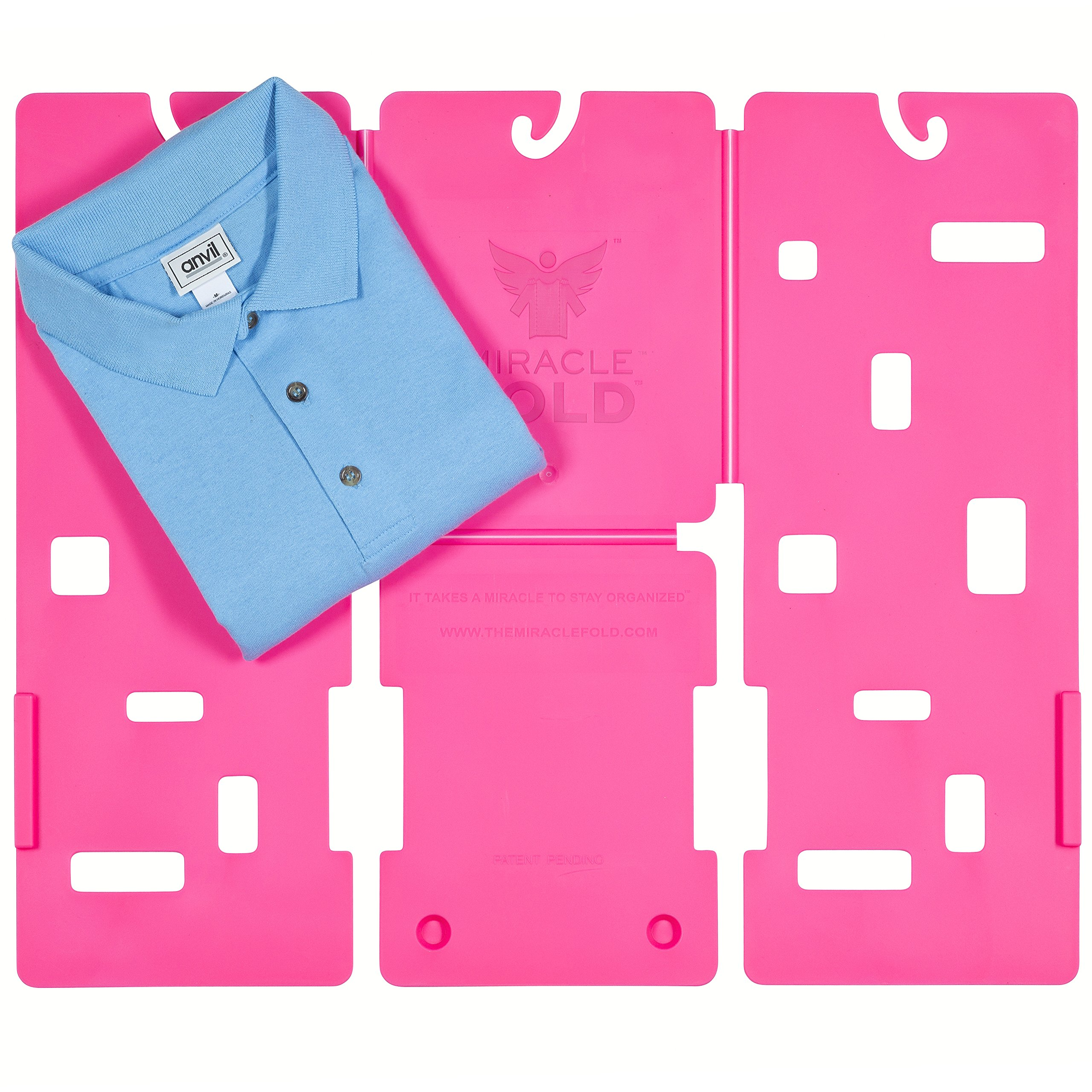 MiracleFold Junior Size Laundry Folder Clothes Folder T-Shirts Pants Towels Organizer Fast Easy and Fun Time Saver (Hot Pink)