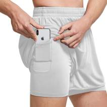 Ogeenier Men's Mesh 2 in 1 Running Workout Shorts Quick Dry Athletic Training Gym Shorts with Pockets