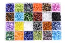 Mandala Crafts Glass Seed Beads, Small Pony Beads Assorted Kit with Organizer Box for Jewelry Making, Beading, Crafting (Bulge 2 X 6.5 MM, 24 Assorted Multicolor Set Combo 1)