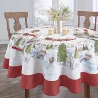 "Elrene Home Fashions Santa's Snowy Sleighride Tablecloth, 60"" x 84"" Oval, Multi"
