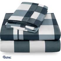 Bare Home Full Sheet Set - Kids Size - 1800 Ultra-Soft Microfiber Bed Sheets - Double Brushed Breathable Bedding - Hypoallergenic - Wrinkle Resistant - Deep Pocket (Full, Gingham Blue)