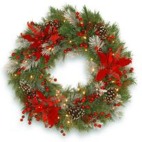 National Tree Spruce 30 Inch Decorative Collection Tartan Plaid Wreath with Red Berries and 100 Battery Operated Warm White LED Lights with Timer (DC13-147-30WB)