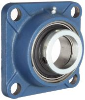 SKF FY 40 FM Ball Bearing Flange Unit, 4 Bolts, Eccentric Collar, Regreasable, Contact Seal, Cast Iron, Metric, 40mm Bore, 101.5mm Bolt Hole Spacing Width