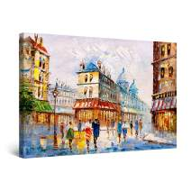 """Startonight Canvas Wall Art Abstract Cityscape Italy Europe Painting Colored Framed 24"""" x 36"""""""