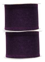 Purple Burlap Ribbon 2.5 Inch 2 Rolls 20 Yards Unwired Rustic Jute Ribbon for Crafts, Mason Jars, Weddings, Party Decoration; by Mandala Crafts
