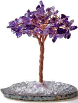 KALIFANO Natural Mini Amethyst (100+ Gemstone Count!) Chakra Crystal Tree with Brazilian Agate Base - Bonsai Feng Shui Money Tree for Positive Energy, Luck and Wealth