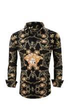 Men's Premiere Designer Fashion Dress Shirt Casual Shirt Woven Long Sleeve Button Down Shirt (3XL, Black & Gold Medusa Chain 619)