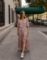 The Drop Women's Blush Pink Floral V-Neck Button Down Tiered Maxi Dress by @charlottebridgeman