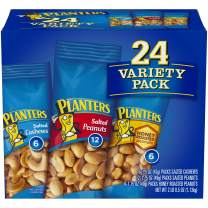 PLANTERS Variety Packs (Salted Cashews, Salted Peanuts & Honey Roasted Peanuts), 24 Packs - Individual Bags of On-the-Go Nut Snacks - No Cholesterol or Trans Fats - Source of Fiber and Healthy Fats