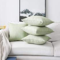 Home Brilliant Spring Textured Decorative Pillow Covers for Bed Burlap Linen Cushion Covers for Living Room, 18 x 18 inches, 4 Pack, Grass Green