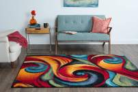 Susan Contemporary Abstract Multi-Color Rectangle Area Rug, 8' x 10'