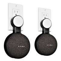 Mount Genie Affordable Essentials Google Home Mini (1st Gen) Outlet Wall Mount Hanger Stand | A Low-Cost Space-Saving Solution (Black, 2-Pack)