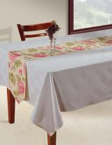 Shalinindia Indian Patterned Duck Cotton Table Runner - 13 x 90 inches - Pink, Lilac, Green and Beige Floral