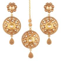 I Jewels Gold Plated Traditional Earrings & Maang Tikka for Women