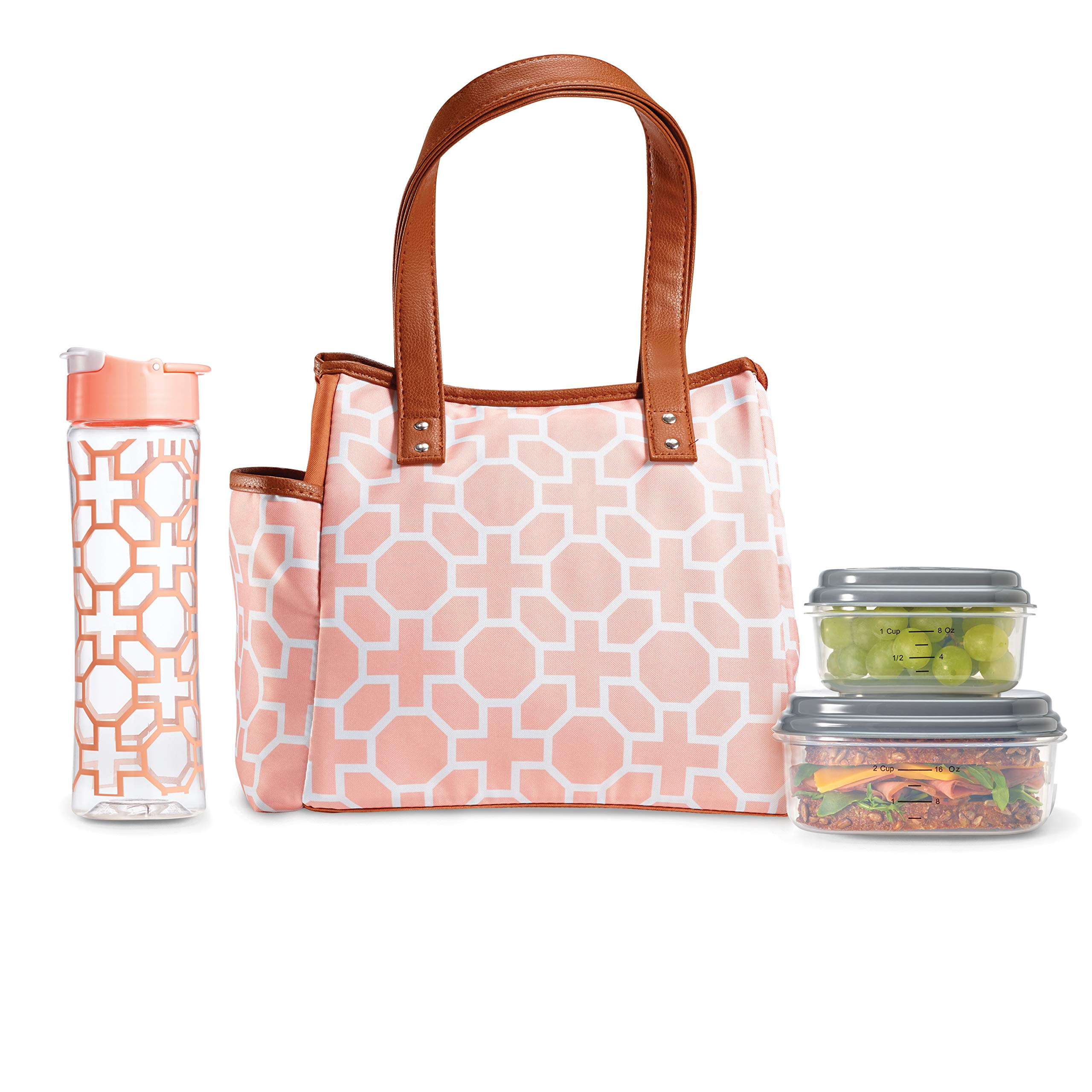 Fit & Fresh Insulated Lunch Bag Kit, includes Matching Bottle and Containers, Westerly Classic Trellis Blush