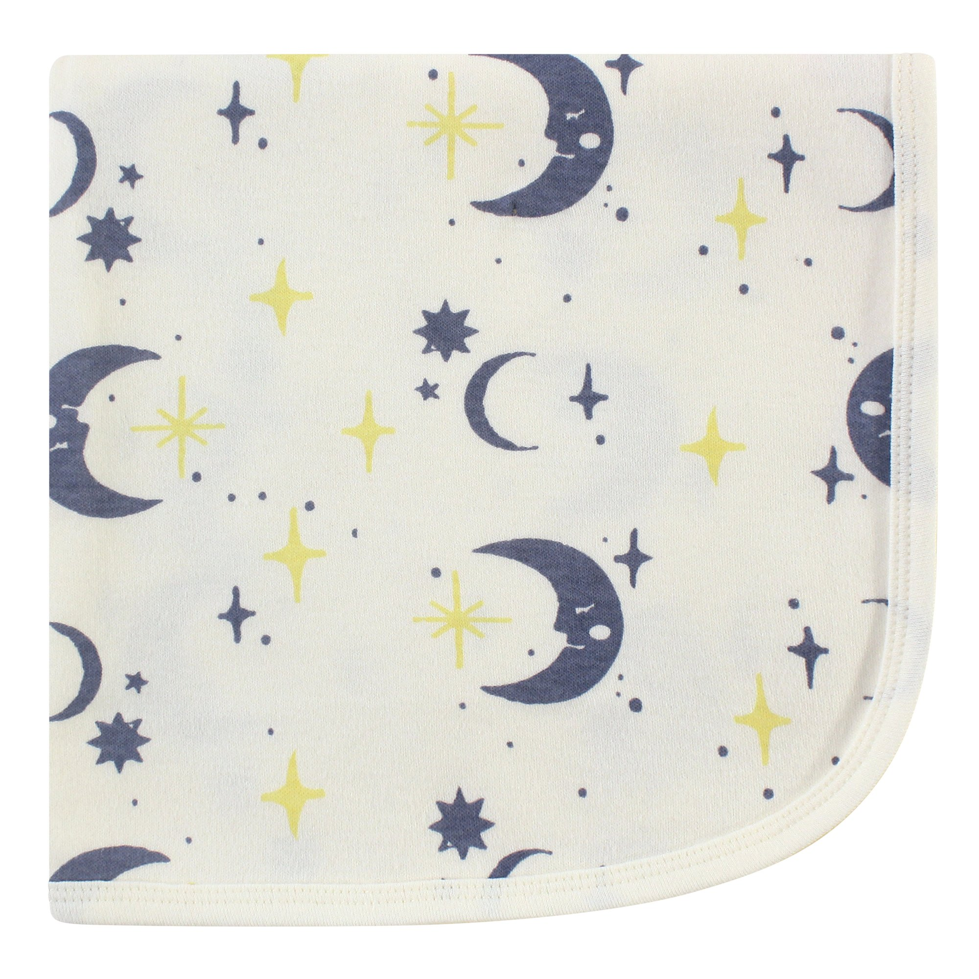 Touched by Nature Unisex Baby Organic Cotton Swaddle, Receiving and Multi-purpose Blanket, Moon, One Size
