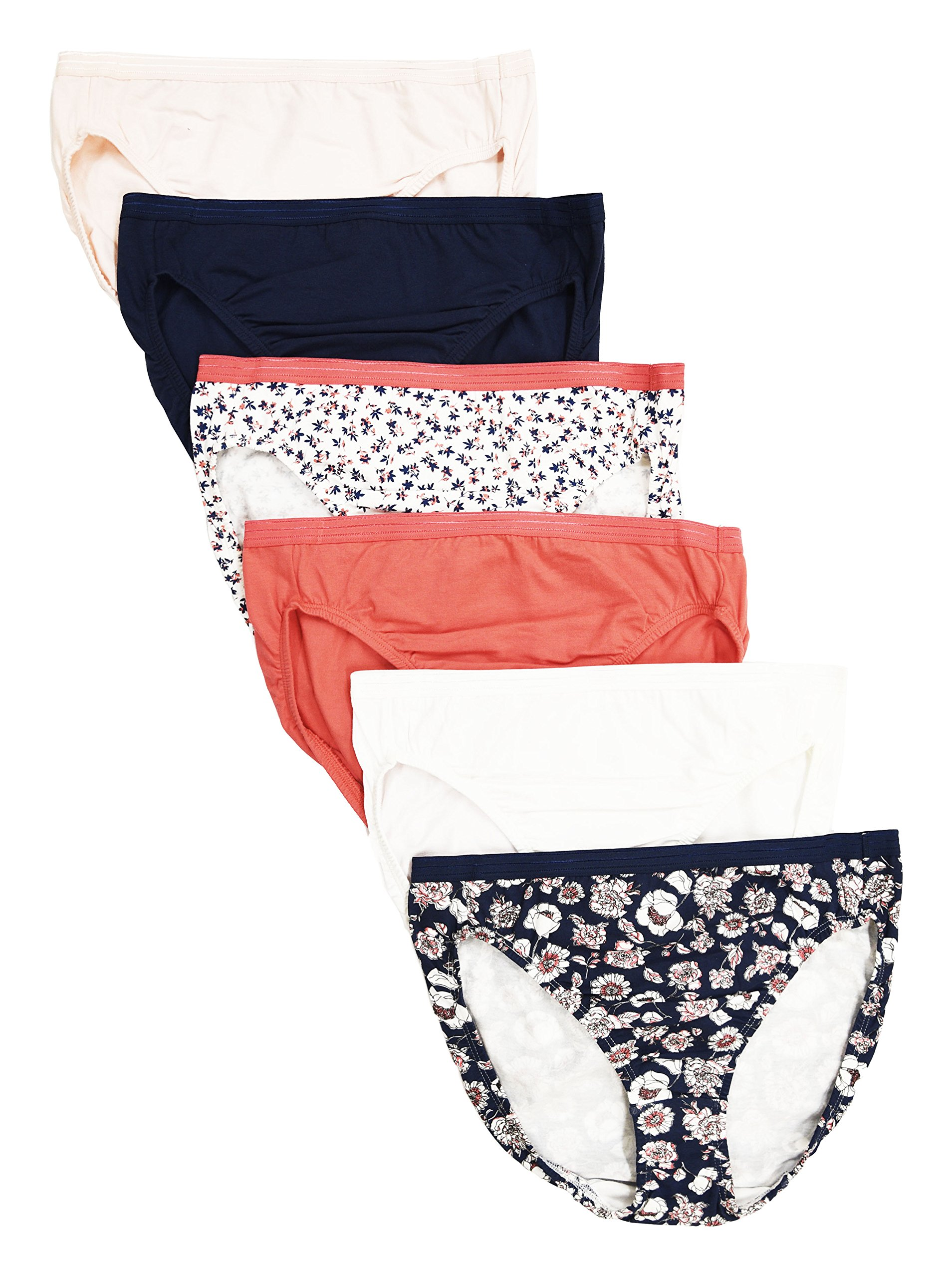 CHEROKEE Women's 6-Pack Cotton Stretch Hi-Cut Hipster Panties Underwear, Solid/Floral Prints