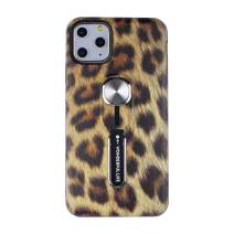"Hosgor Flowers iPhone 11 Pro Max Case with Finger Grip, 3D Print Design Rugged Shockproof Slim Soft TPU + Matte PC Dual Layer Finger Ring Strap Cover for iPhone 11 Pro Max - 6.5"" 2019 (Leopard)"