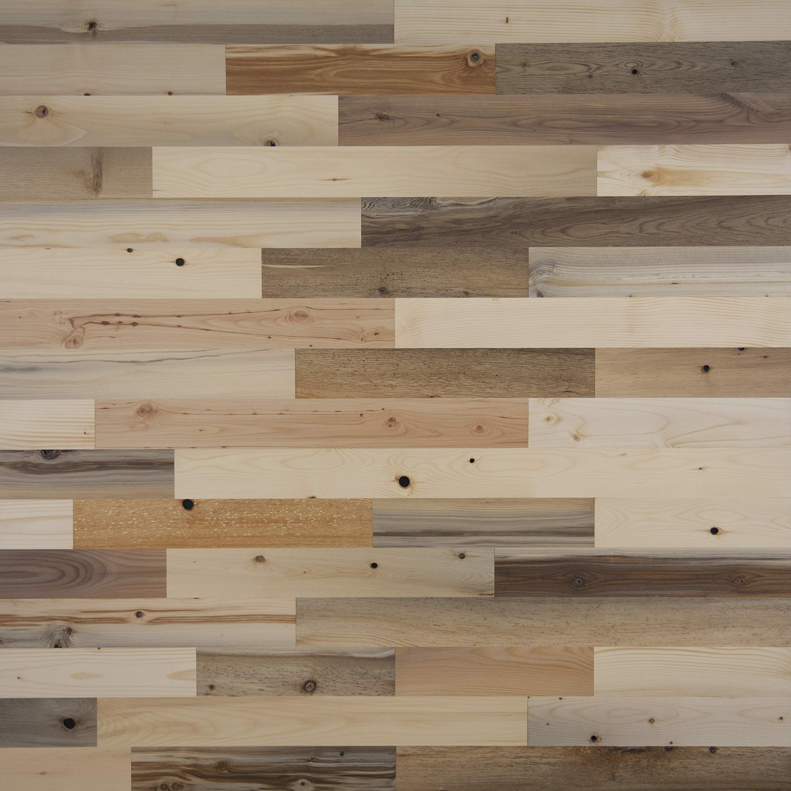 """Timberchic River Reclaimed Wooden Wall Planks - Simple Peel and Stick Application. (3"""" Wide - 20 Sq. Ft, River Planks)"""