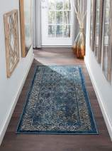 Tayse Nicola Navy 2x8 Runner Area Rug for Hallway, Walkway, Entryway, or Foyer - Vintage, Floral