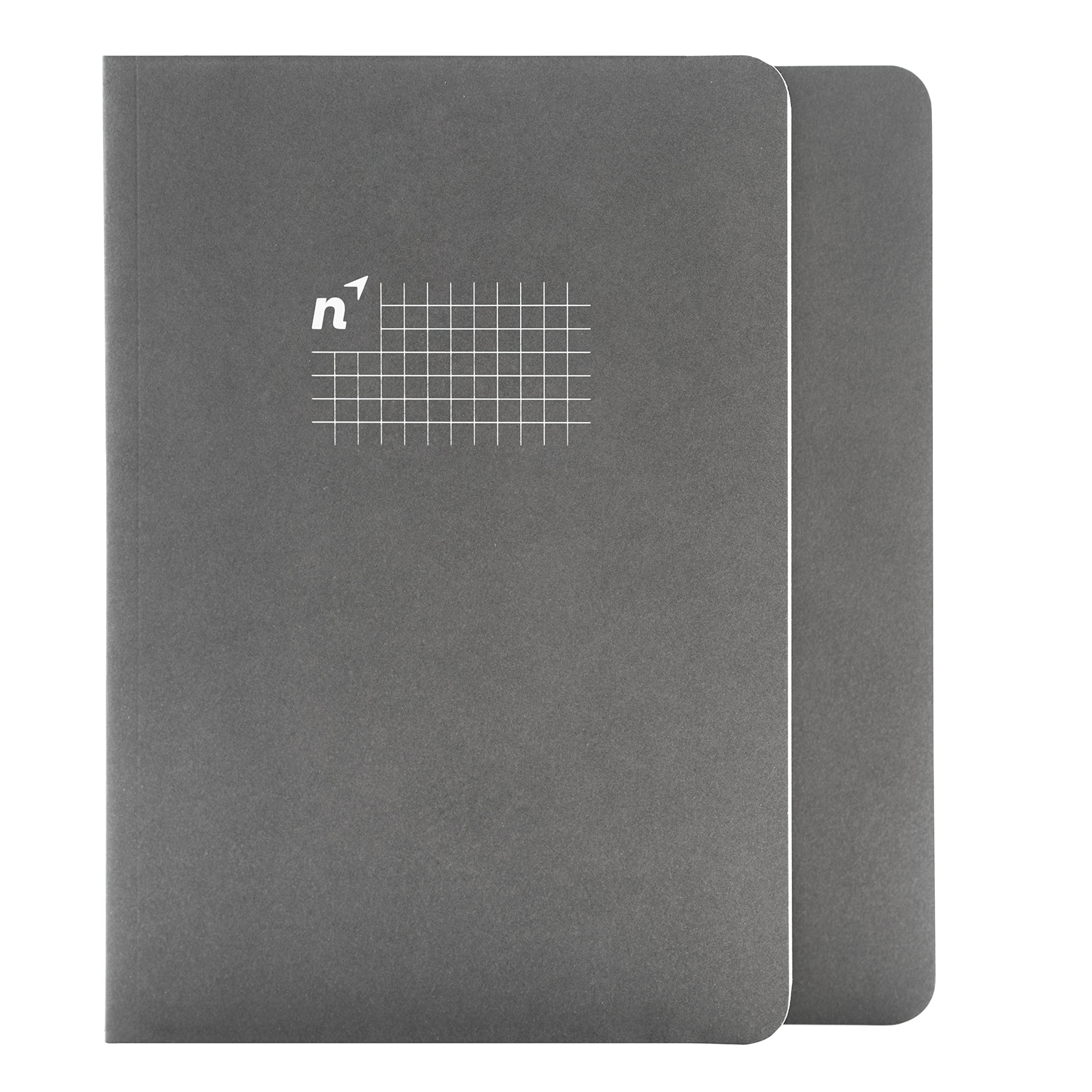 Northbooks USA Eco A5 Graph Paper Notebook/Ledger | Notepad for School, Work, Travel or Personal Use | 144 Sewn 5mm Square/Gridded Pages, Premium Recycled Cream Paper | 5.8 x 8.2 inch, 2 Pack