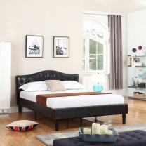Divano Roma Furniture Classic Bonded Leather Low Profile Platform Bed Frame w/Curved Headboard Design, Queen, Espresso