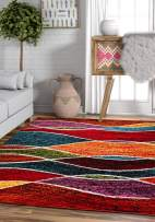Well Woven Sephra Modern Geometric Stripe Pattern 3x5 (3'3'' x 5') Area Rug Soft Shed Free Easy to Clean Stain Resistant