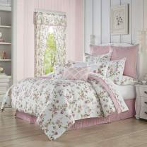 Royal Court Rosemary Country Chic Floral 4 Piece Comforter Set, Rose, King 104x92